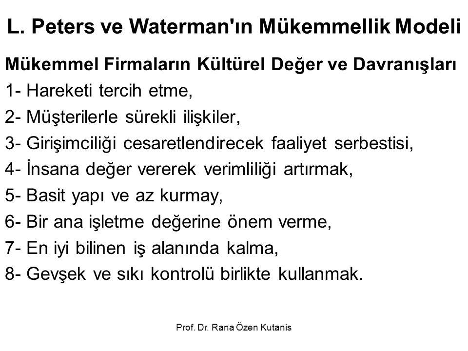 Prof. Dr. Rana Özen Kutanis L. Peters ve Waterman'ın Mükemmellik Modeli Mükemmel Firmaların Kültürel Değer ve Davranışları 1- Hareketi tercih etme, 2-