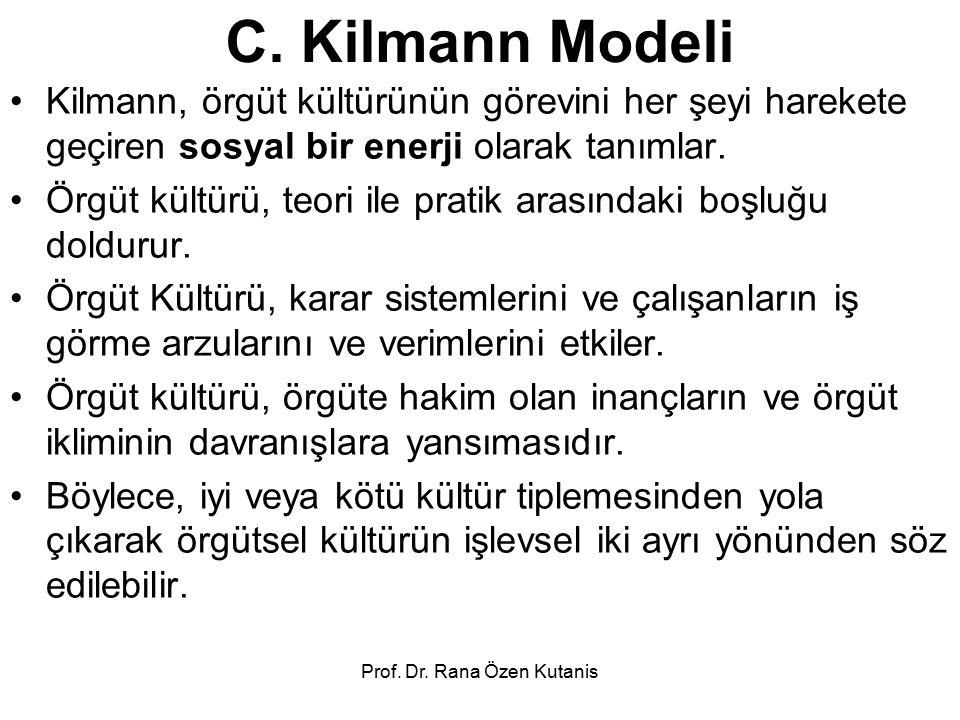 Prof. Dr. Rana Özen Kutanis C. Kilmann Modeli Kilmann, örgüt kültürünün görevini her şeyi harekete geçiren sosyal bir enerji olarak tanımlar. Örgüt kü