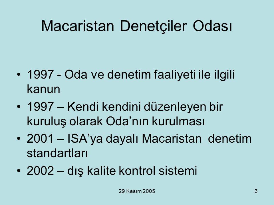 29 Kasım 20053 Macaristan Denetçiler Odası 1997 - Oda ve denetim faaliyeti ile ilgili kanun 1997 – Kendi kendini düzenleyen bir kuruluş olarak Oda'nın