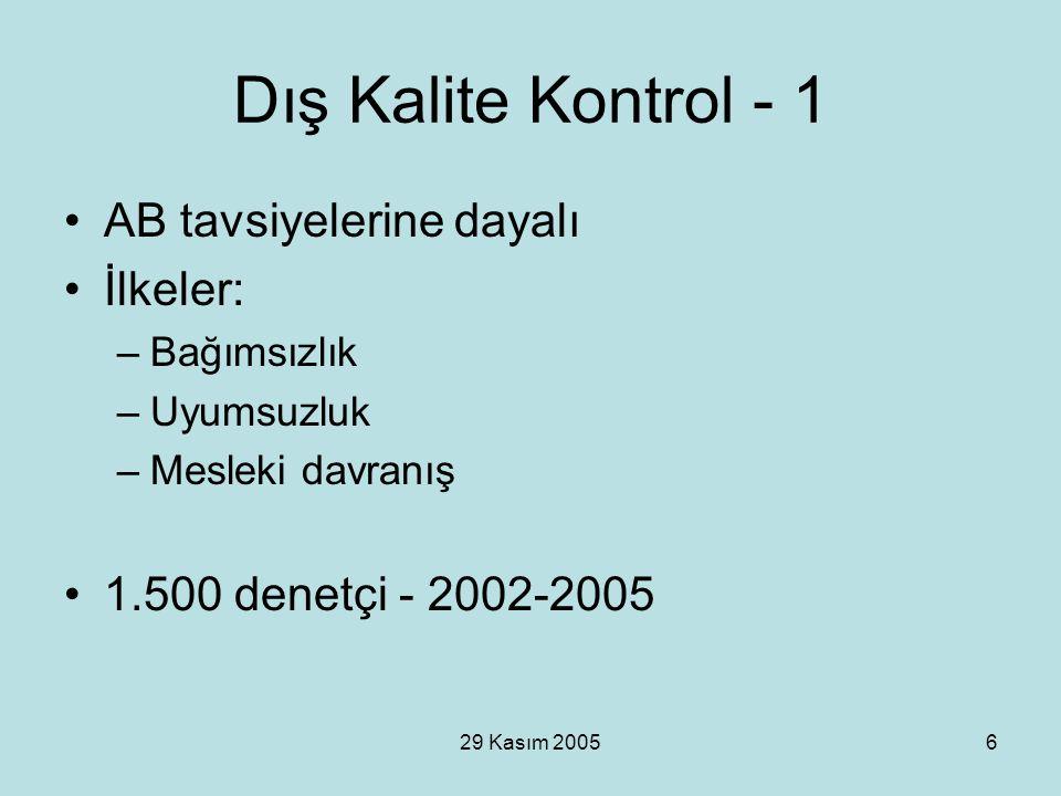 29 Kasım 20056 Dış Kalite Kontrol - 1 AB tavsiyelerine dayalı İlkeler: –Bağımsızlık –Uyumsuzluk –Mesleki davranış 1.500 denetçi - 2002-2005