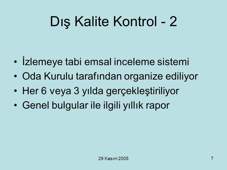 29 Kasım 20057 Dış Kalite Kontrol - 2 İzlemeye tabi emsal inceleme sistemi Oda Kurulu tarafından organize ediliyor Her 6 veya 3 yılda gerçekleştiriliy