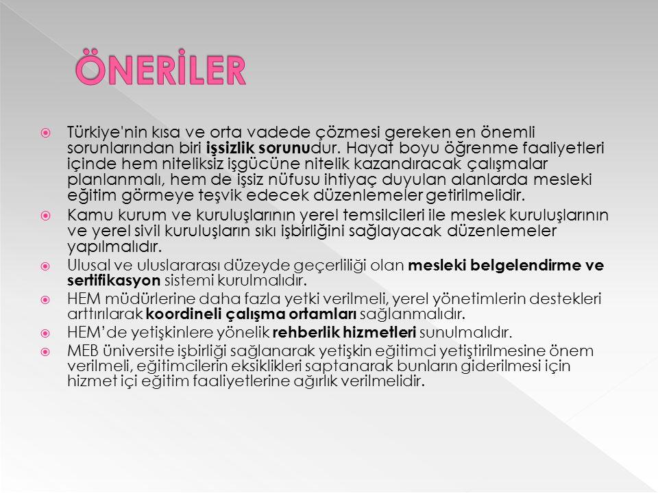  Türkiye'nin kısa ve orta vadede çözmesi gereken en önemli sorunlarından biri işsizlik sorunu dur. Hayat boyu öğrenme faaliyetleri içinde hem nitelik