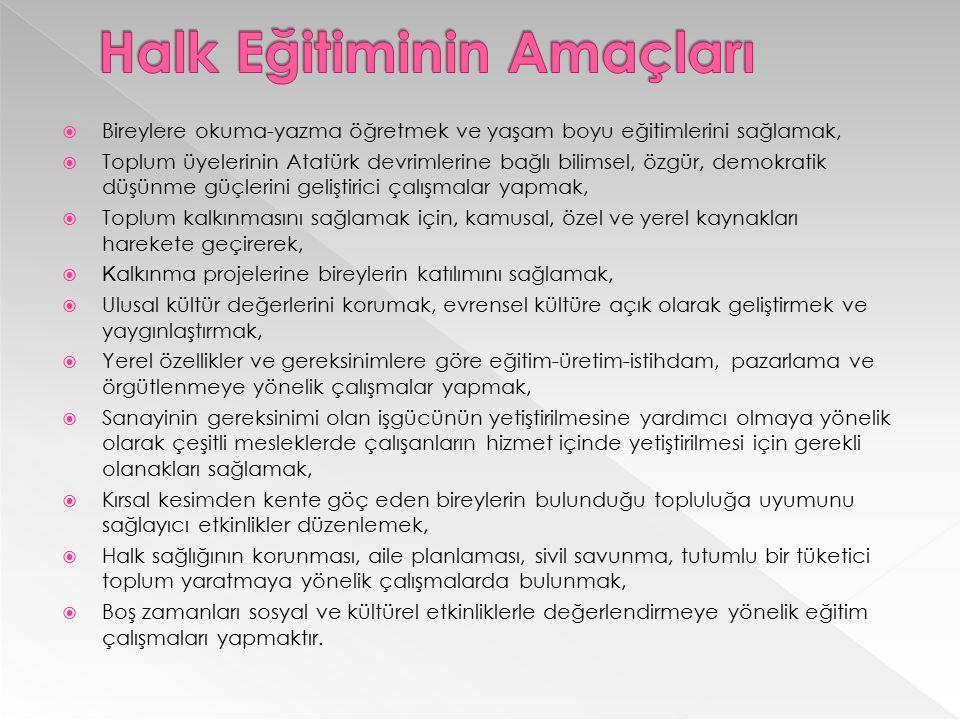  Bireylere okuma-yazma öğretmek ve yaşam boyu eğitimlerini sağlamak,  Toplum üyelerinin Atatürk devrimlerine bağlı bilimsel, özgür, demokratik düşün