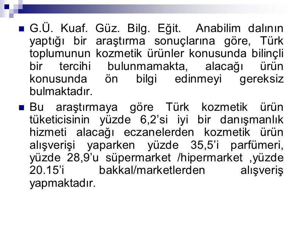 G.Ü. Kuaf. Güz. Bilg. Eğit. Anabilim dalının yaptığı bir araştırma sonuçlarına göre, Türk toplumunun kozmetik ürünler konusunda bilinçli bir tercihi b