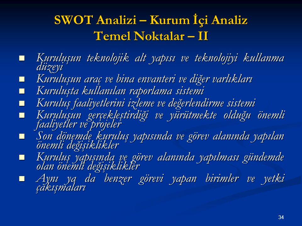 SWOT Analizi – Kurum İçi Analiz Temel Noktalar – II Kuruluşun teknolojik alt yapısı ve teknolojiyi kullanma düzeyi Kuruluşun teknolojik alt yapısı ve