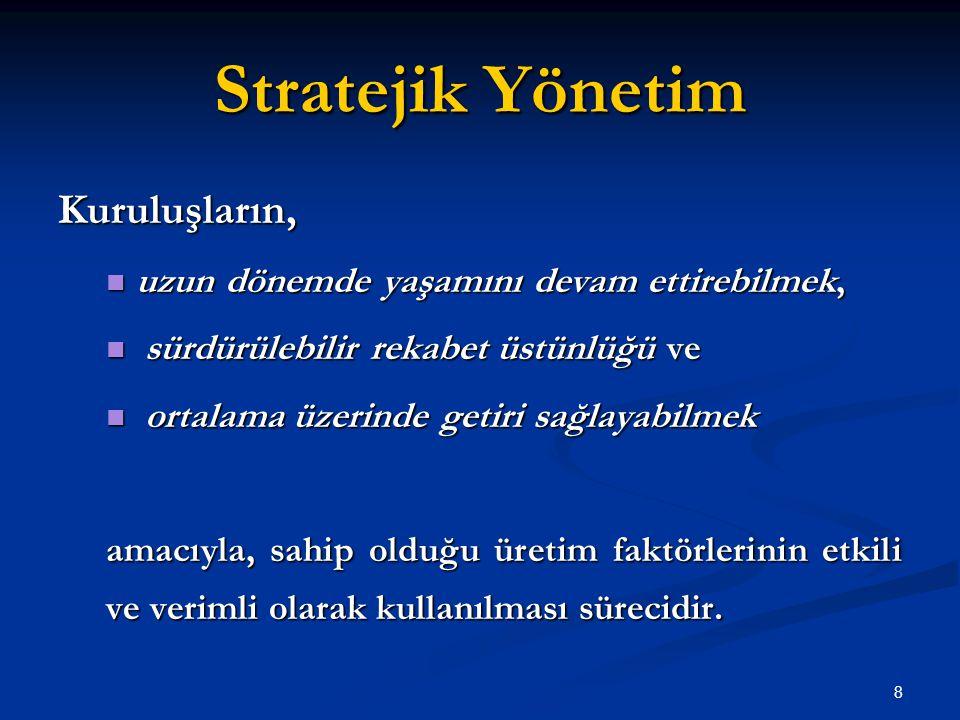 Stratejik Yönetim Kuruluşların, uzun dönemde yaşamını devam ettirebilmek, uzun dönemde yaşamını devam ettirebilmek, sürdürülebilir rekabet üstünlüğü v