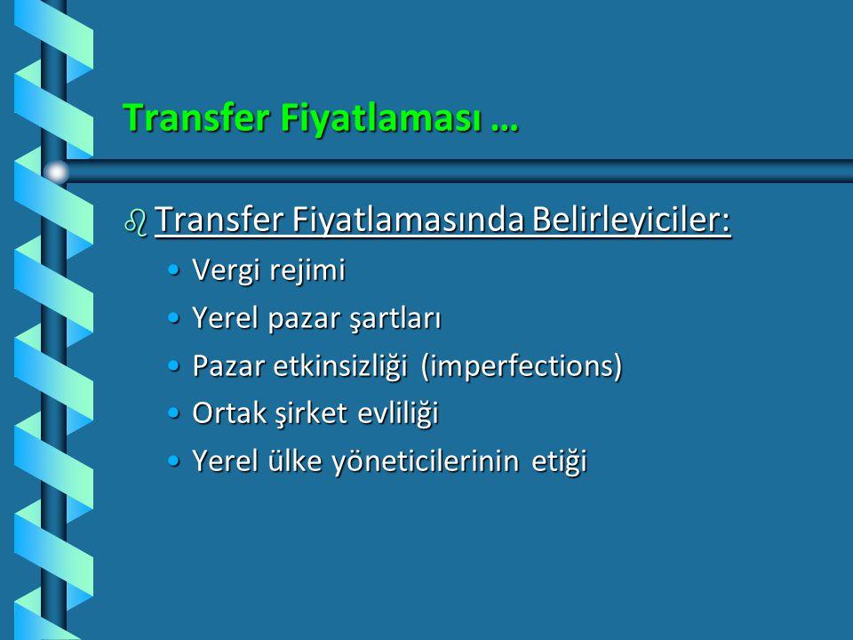 Transfer Fiyatlaması b Transfer Fiyatlarının Belirleyicileri: 1.Yabancı ülke pazar şartları 2.Yabancı ülkedeki rekabet 3.Yabancı ortak için makul kar