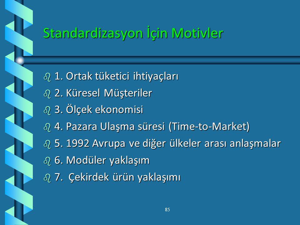 Standart Ürün Stratejisi b 1. Standardizasyon- yapısal değişime uğramamış ürünlerin birden fazla ülke pazarına sürülmesi Gerekçe: tüketiciler ortak de
