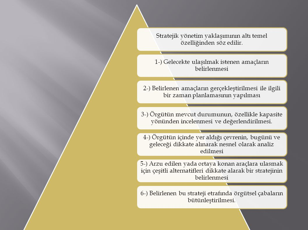 Stratejik yönetim yaklaşımının altı temel özelliğinden söz edilir. 1-) Gelecekte ulaşılmak istenen amaçların belirlenmesi 2-) Belirlenen amaçların ger