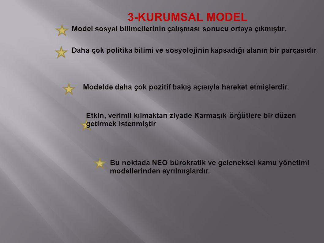 3-KURUMSAL MODEL Model sosyal bilimcilerinin çalışması sonucu ortaya çıkmıştır. Daha çok politika bilimi ve sosyolojinin kapsadığı alanın bir parçasıd
