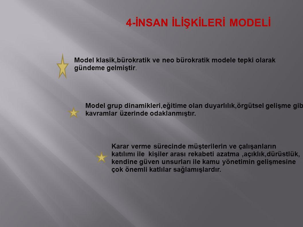 4-İNSAN İLİŞKİLERİ MODELİ Model klasik,bürokratik ve neo bürokratik modele tepki olarak gündeme gelmiştir. Model grup dinamikleri,eğitime olan duyarlı