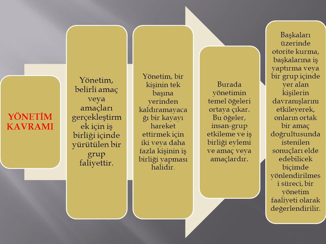 YÖNETİM KAVRAMI Yönetim, belirli amaç veya amaçları gerçekleştirm ek için iş birliği içinde yürütülen bir grup faliyettir.