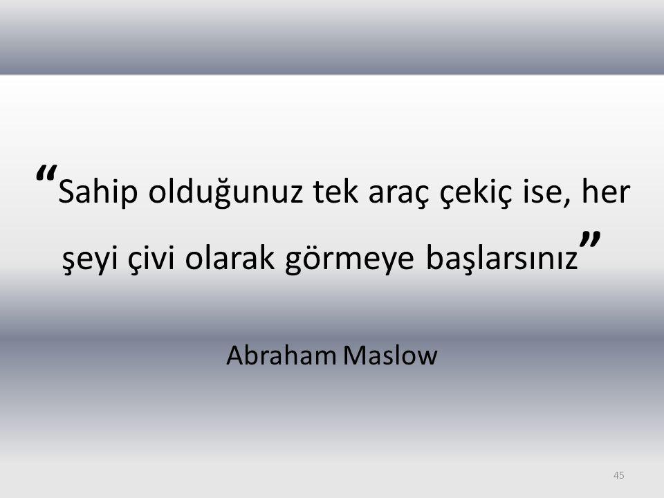 """"""" Sahip olduğunuz tek araç çekiç ise, her şeyi çivi olarak görmeye başlarsınız """" Abraham Maslow 45"""
