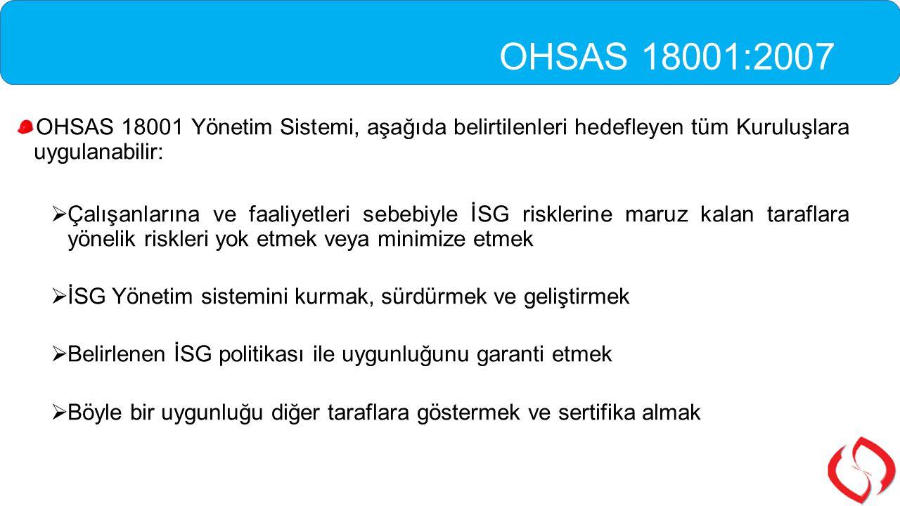 OHSAS 18001 Yönetim Sistemi, aşağıda belirtilenleri hedefleyen tüm Kuruluşlara uygulanabilir:  Çalışanlarına ve faaliyetleri sebebiyle İSG risklerine