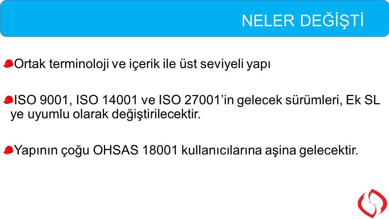 NELER DEĞİŞTİ Ortak terminoloji ve içerik ile üst seviyeli yapı ISO 9001, ISO 14001 ve ISO 27001'in gelecek sürümleri, Ek SL ye uyumlu olarak değiştir