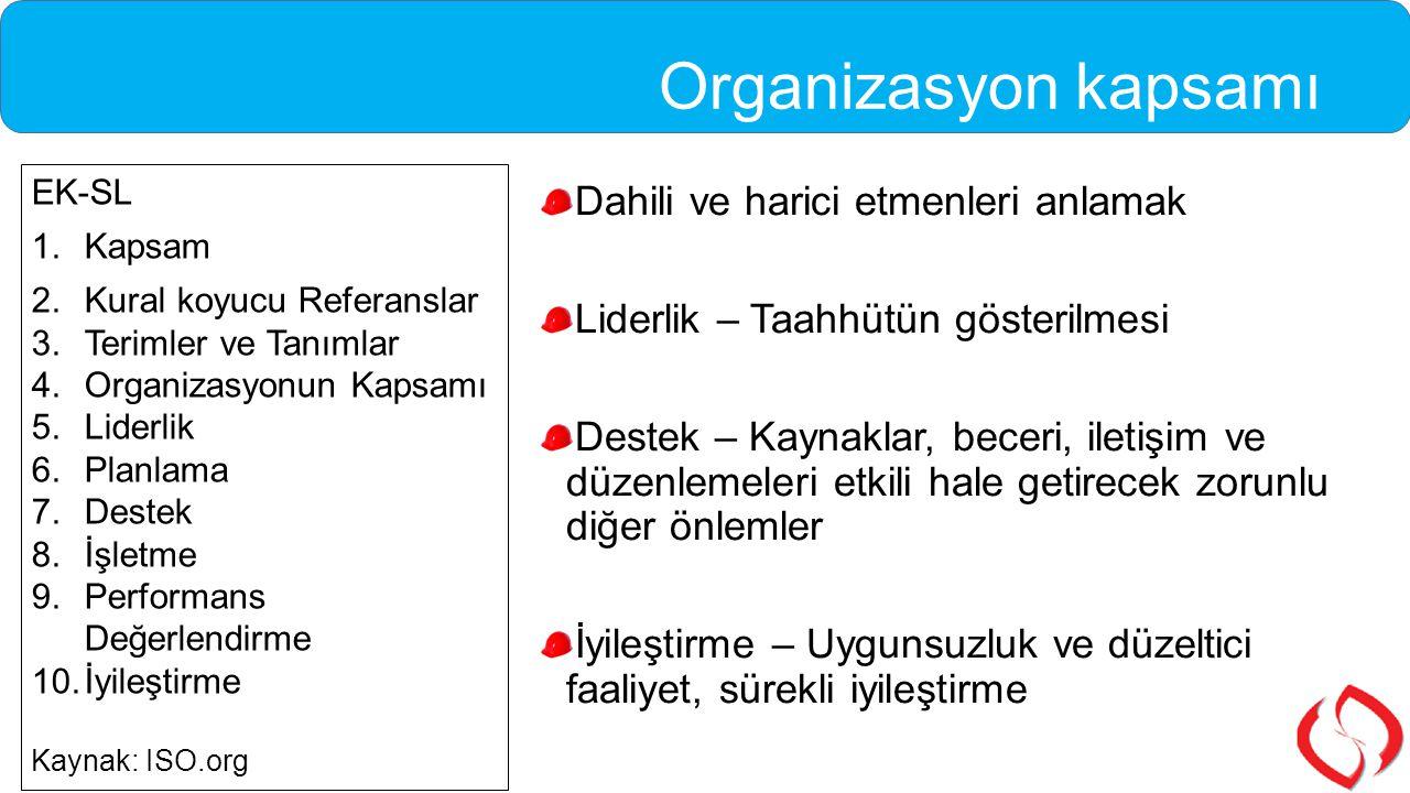 Organizasyon kapsamı Dahili ve harici etmenleri anlamak Liderlik – Taahhütün gösterilmesi Destek – Kaynaklar, beceri, iletişim ve düzenlemeleri etkili