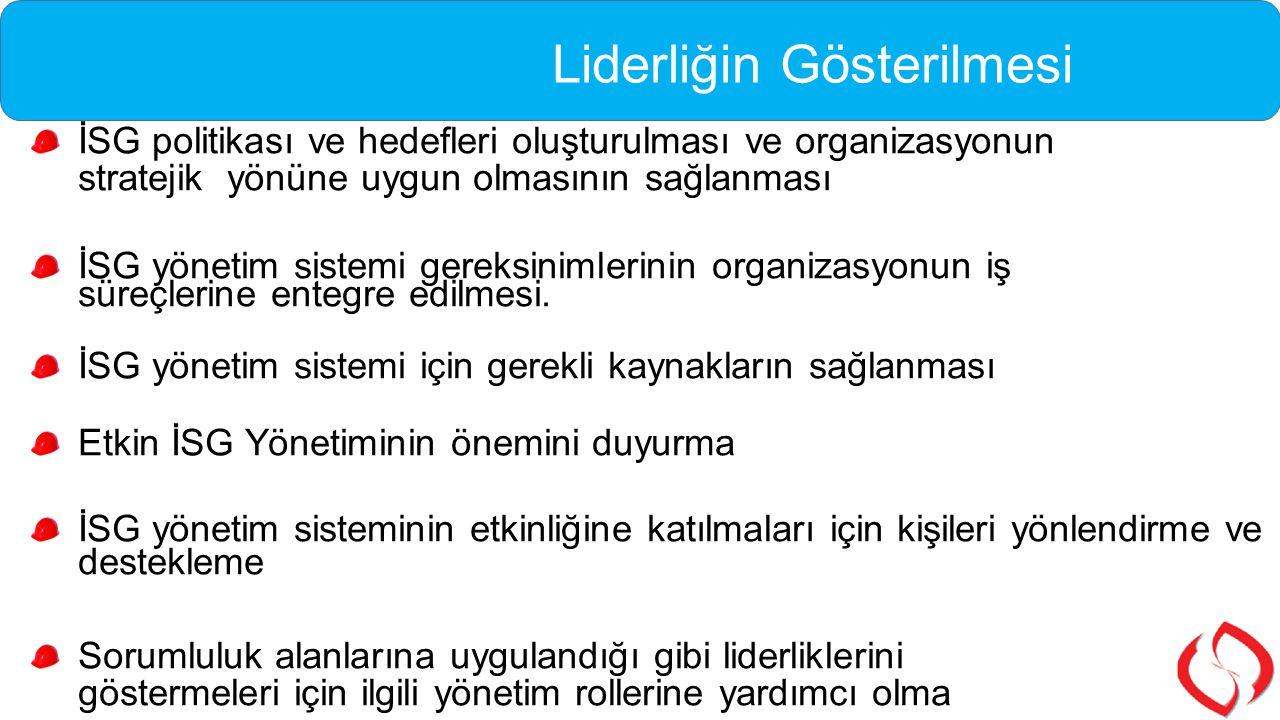 İSG politikası ve hedefleri oluşturulması ve organizasyonun stratejik yönüne uygun olmasının sağlanması İSG yönetim sistemi gereksinimlerinin organiza