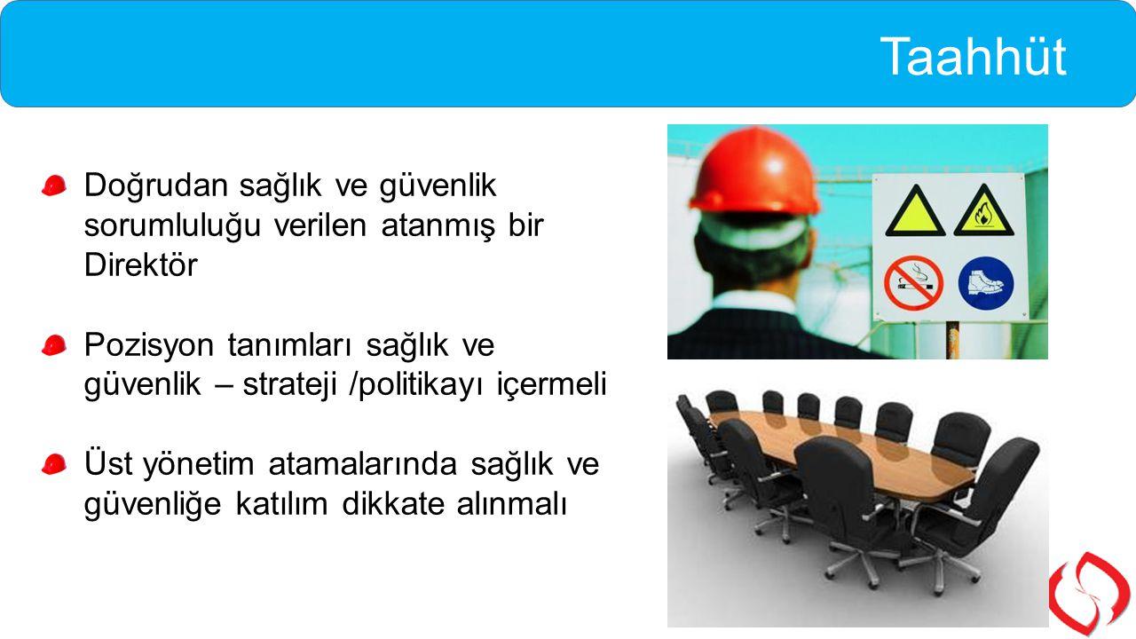 Taahhüt Doğrudan sağlık ve güvenlik sorumluluğu verilen atanmış bir Direktör Pozisyon tanımları sağlık ve güvenlik – strateji /politikayı içermeli Üst