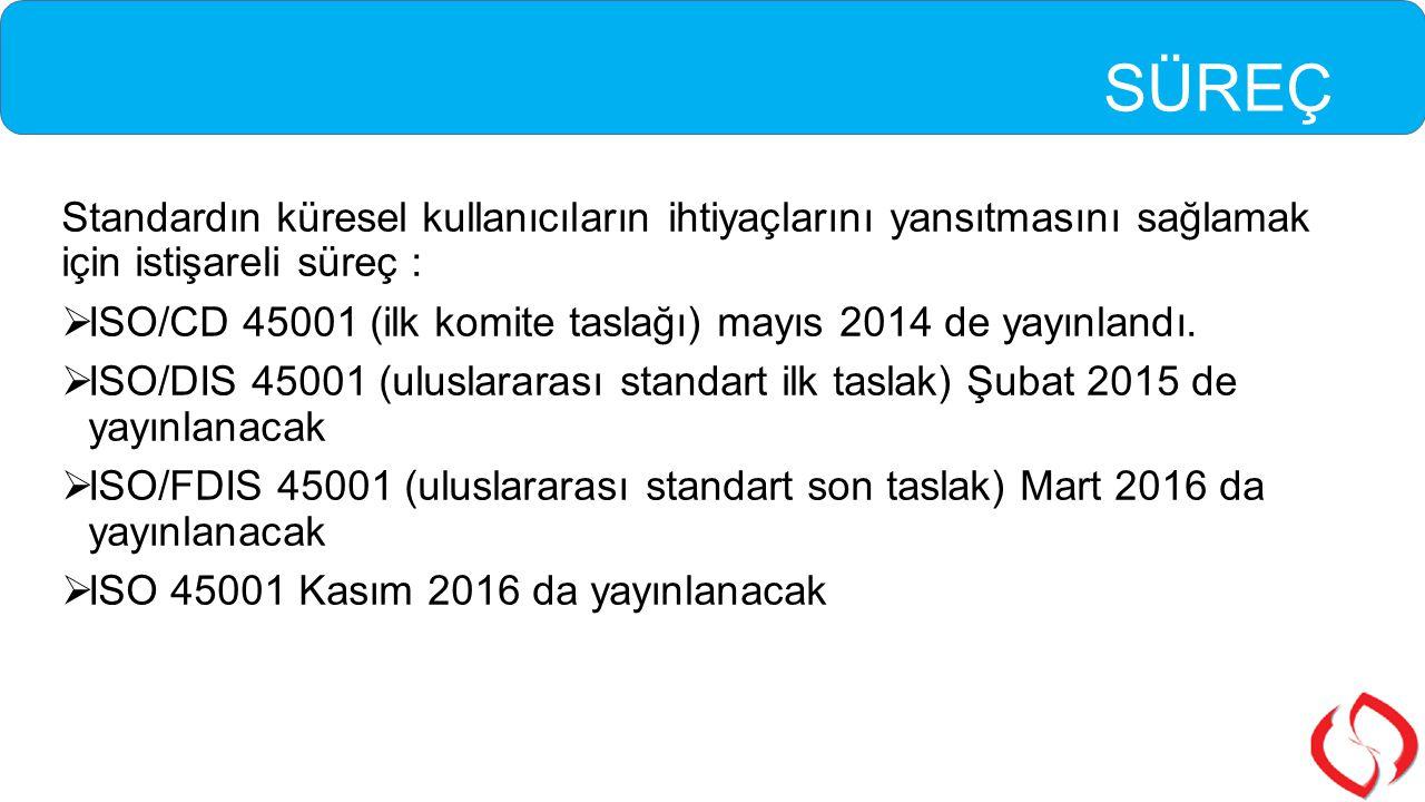 SÜREÇ Standardın küresel kullanıcıların ihtiyaçlarını yansıtmasını sağlamak için istişareli süreç :  ISO/CD 45001 (ilk komite taslağı) mayıs 2014 de