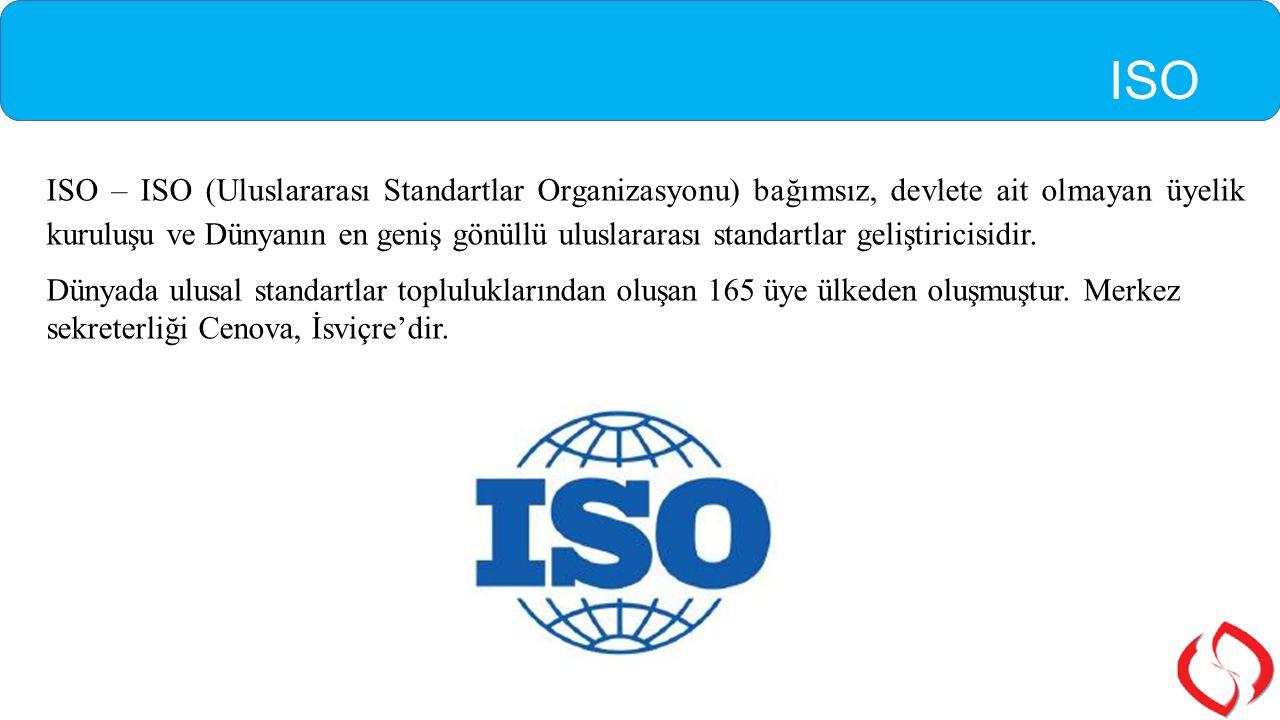 ISO ISO – ISO (Uluslararası Standartlar Organizasyonu) bağımsız, devlete ait olmayan üyelik kuruluşu ve Dünyanın en geniş gönüllü uluslararası standar