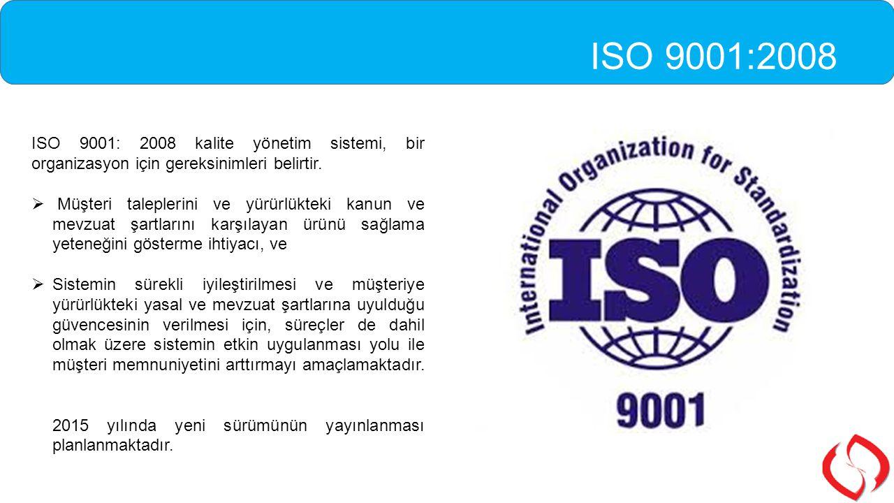 ISO 9001: 2008 kalite yönetim sistemi, bir organizasyon için gereksinimleri belirtir.  Müşteri taleplerini ve yürürlükteki kanun ve mevzuat şartların
