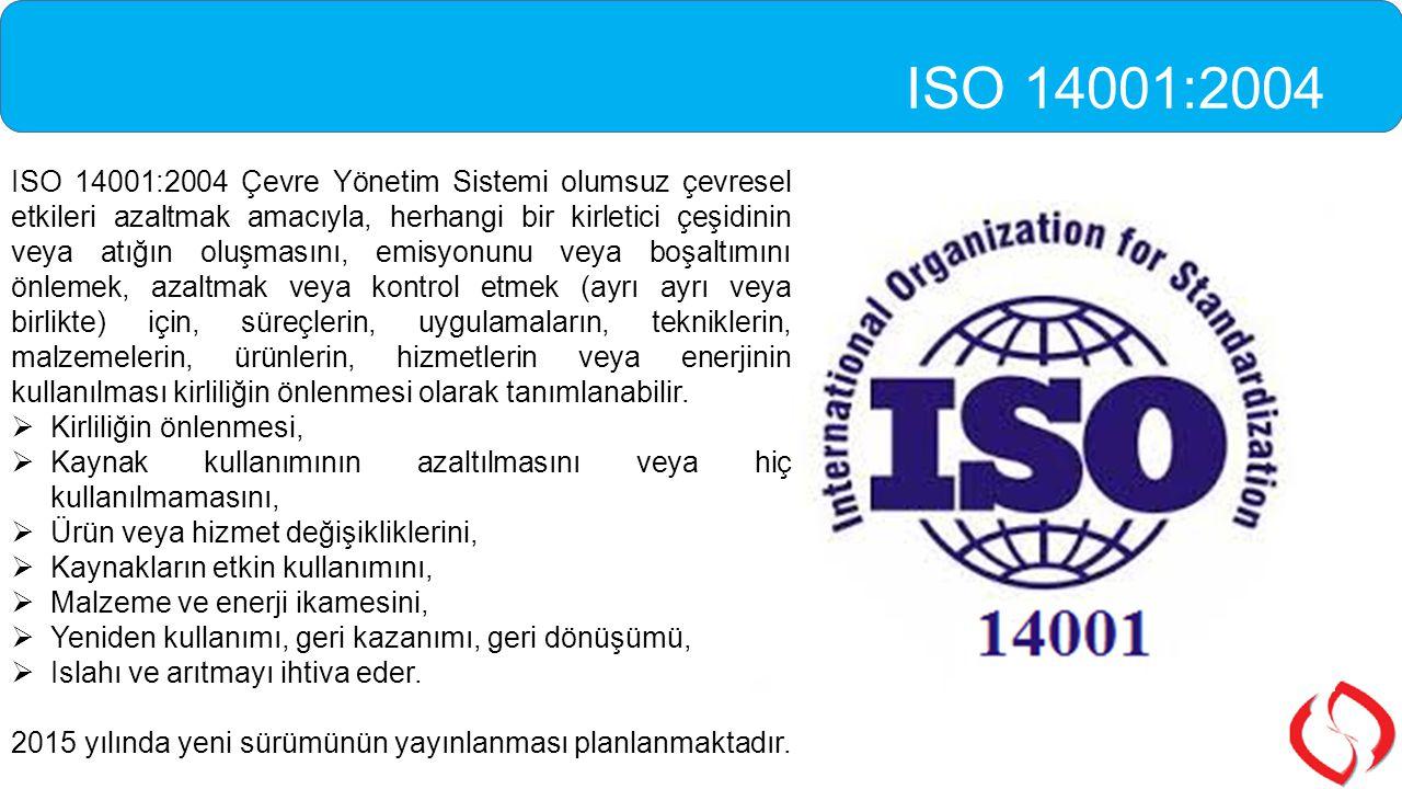 ISO 14001:2004 Çevre Yönetim Sistemi olumsuz çevresel etkileri azaltmak amacıyla, herhangi bir kirletici çeşidinin veya atığın oluşmasını, emisyonunu