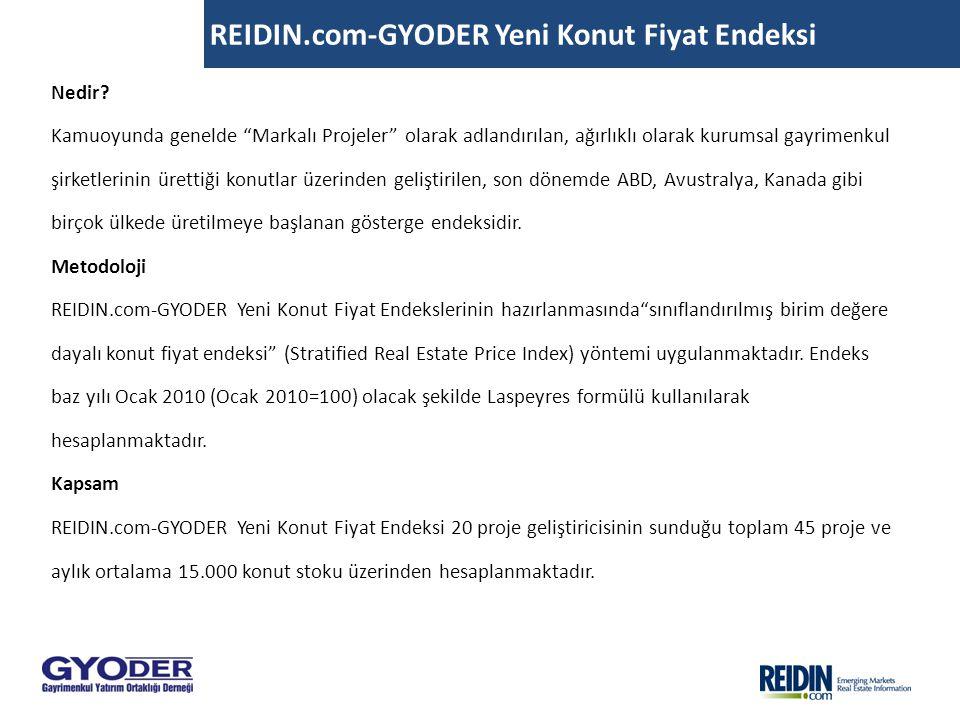 """REIDIN.com-GYODER Yeni Konut Fiyat Endeksi Nedir? Kamuoyunda genelde """"Markalı Projeler"""" olarak adlandırılan, ağırlıklı olarak kurumsal gayrimenkul şir"""