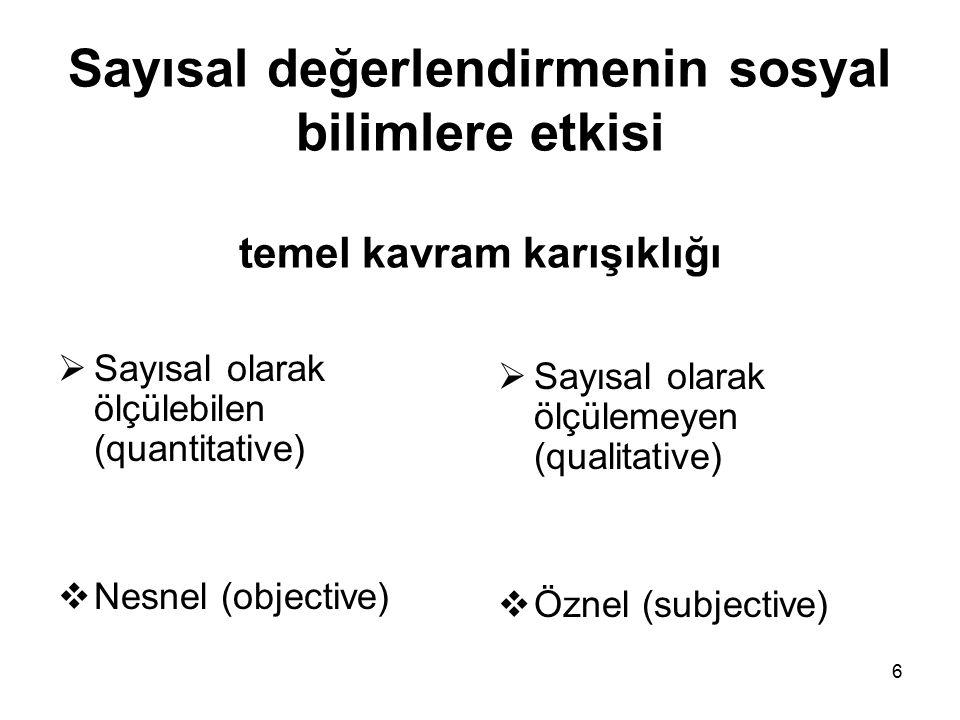 6 Sayısal değerlendirmenin sosyal bilimlere etkisi temel kavram karışıklığı  Sayısal olarak ölçülebilen (quantitative)  Nesnel (objective)  Sayısal olarak ölçülemeyen (qualitative)  Öznel (subjective)