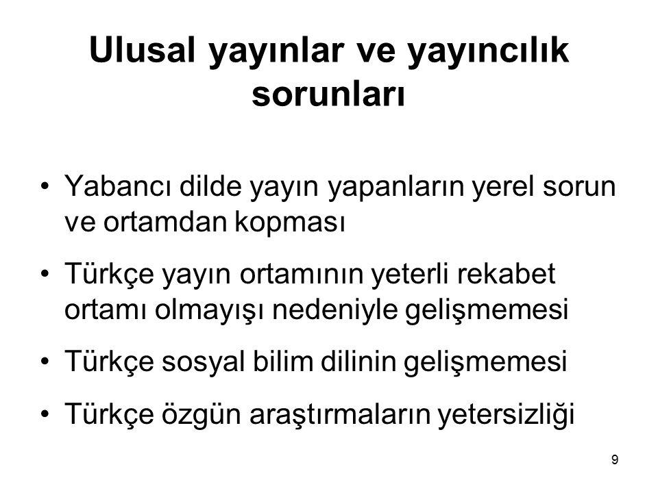 9 Ulusal yayınlar ve yayıncılık sorunları Yabancı dilde yayın yapanların yerel sorun ve ortamdan kopması Türkçe yayın ortamının yeterli rekabet ortamı olmayışı nedeniyle gelişmemesi Türkçe sosyal bilim dilinin gelişmemesi Türkçe özgün araştırmaların yetersizliği