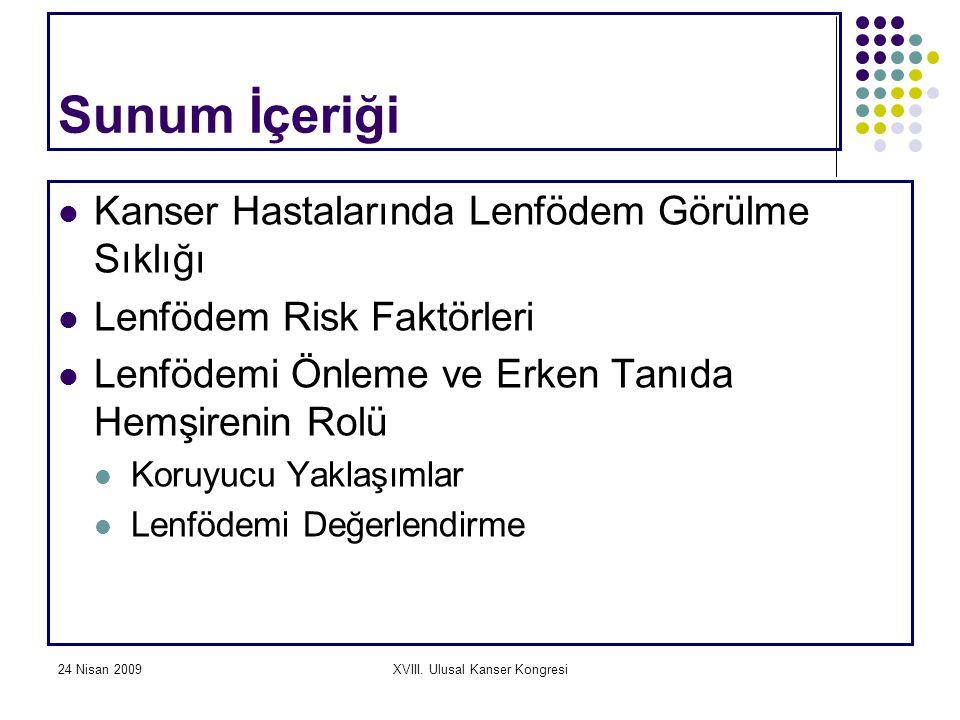 24 Nisan 2009XVIII. Ulusal Kanser Kongresi Sunum İçeriği Kanser Hastalarında Lenfödem Görülme Sıklığı Lenfödem Risk Faktörleri Lenfödemi Önleme ve Erk