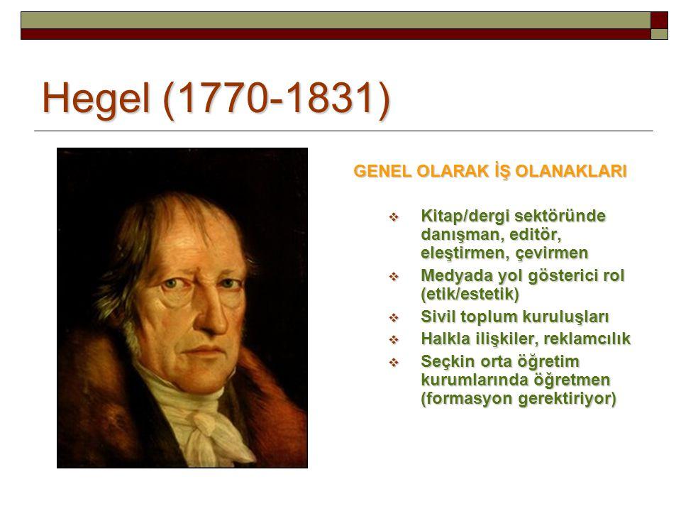 Hegel (1770-1831) GENEL OLARAK İŞ OLANAKLARI  Kitap/dergi sektöründe danışman, editör, eleştirmen, çevirmen  Medyada yol gösterici rol (etik/estetik