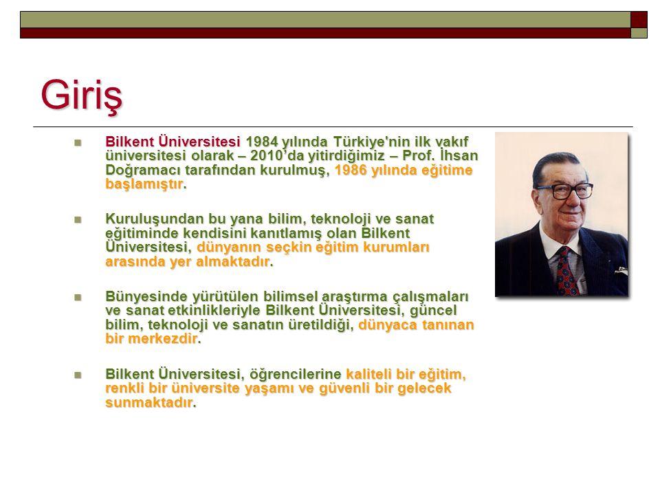 Giriş Bilkent Üniversitesi 1984 yılında Türkiye'nin ilk vakıf üniversitesi olarak – 2010'da yitirdiğimiz – Prof. İhsan Doğramacı tarafından kurulmuş,