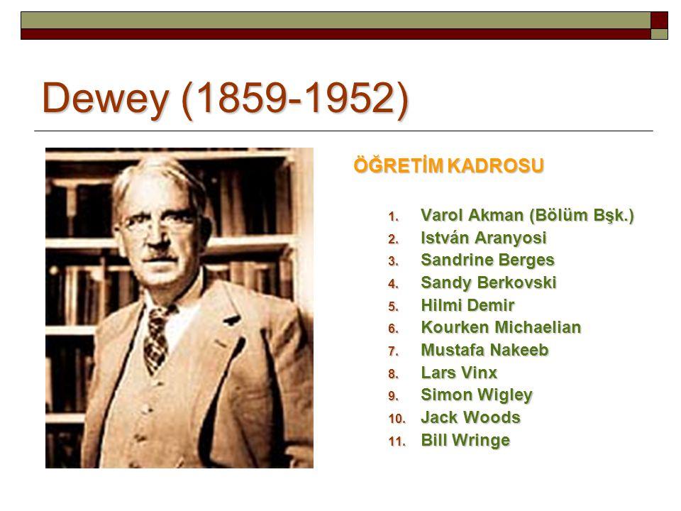 Dewey (1859-1952) ÖĞRETİM KADROSU 1.Varol Akman (Bölüm Bşk.) 2.