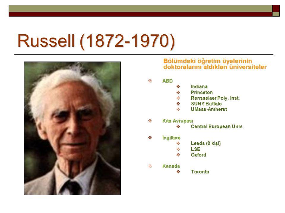 Russell (1872-1970) Bölümdeki öğretim üyelerinin doktoralarını aldıkları üniversiteler  ABD  Indiana  Princeton  Rensselaer Poly. Inst.  SUNY Buf