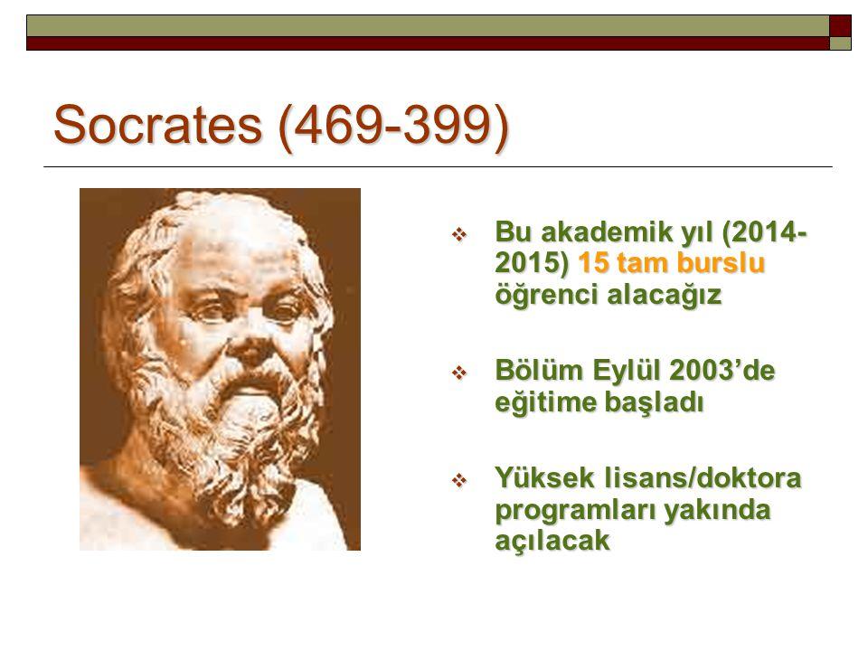 Socrates (469-399)  Bu akademik yıl (2014- 2015) 15 tam burslu öğrenci alacağız  Bölüm Eylül 2003'de eğitime başladı  Yüksek lisans/doktora programları yakında açılacak