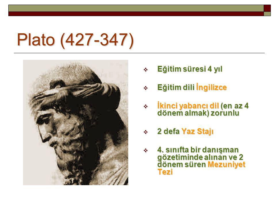 Plato (427-347)  Eğitim süresi 4 yıl  Eğitim dili İngilizce  İkinci yabancı dil (en az 4 dönem almak) zorunlu  2 defa Yaz Stajı  4. sınıfta bir d