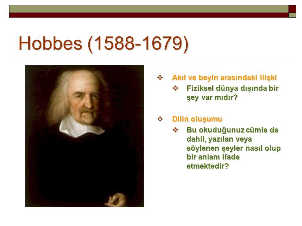 Hobbes (1588-1679)  Akıl ve beyin arasındaki ilişki  Fiziksel dünya dışında bir şey var mıdır?  Dilin oluşumu  Bu okuduğunuz cümle de dahil, yazıl