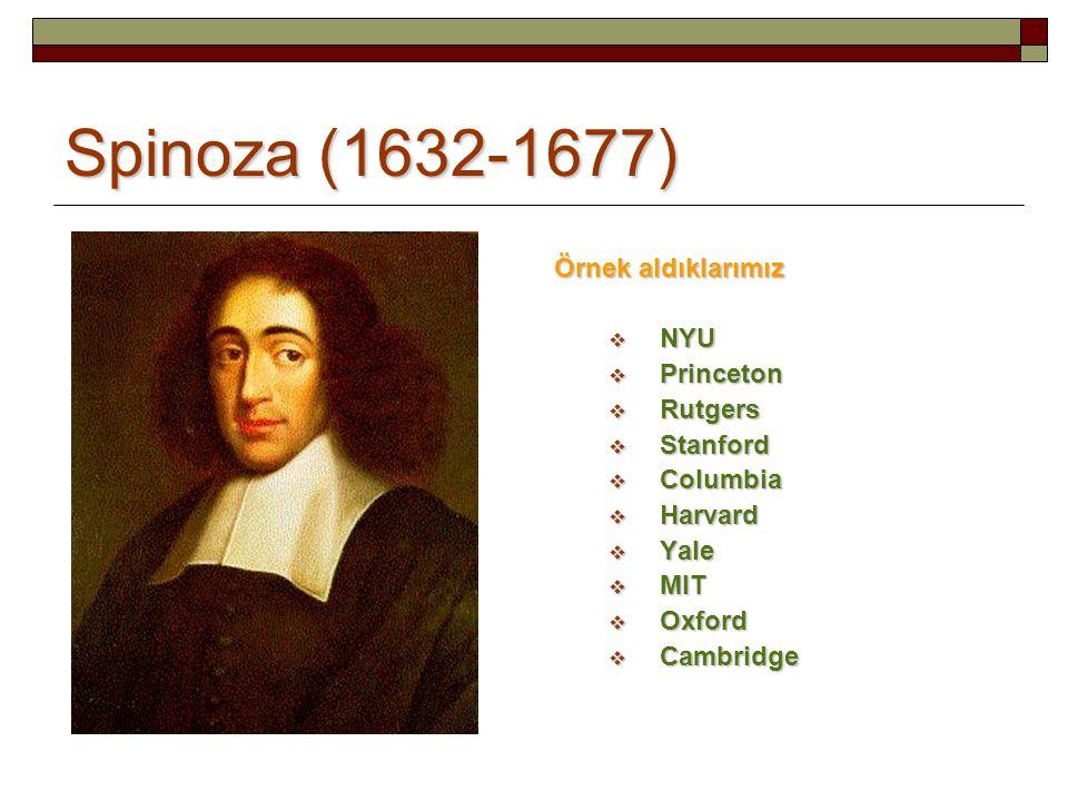 Spinoza (1632-1677) Örnek aldıklarımız  NYU  Princeton  Rutgers  Stanford  Columbia  Harvard  Yale  MIT  Oxford  Cambridge