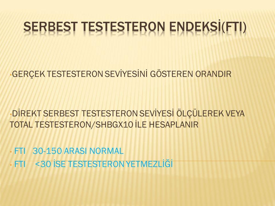 GERÇEK TESTESTERON SEVİYESİNİ GÖSTEREN ORANDIR DİREKT SERBEST TESTESTERON SEVİYESİ ÖLÇÜLEREK VEYA TOTAL TESTESTERON/SHBGX10 İLE HESAPLANIR FTI 30-150