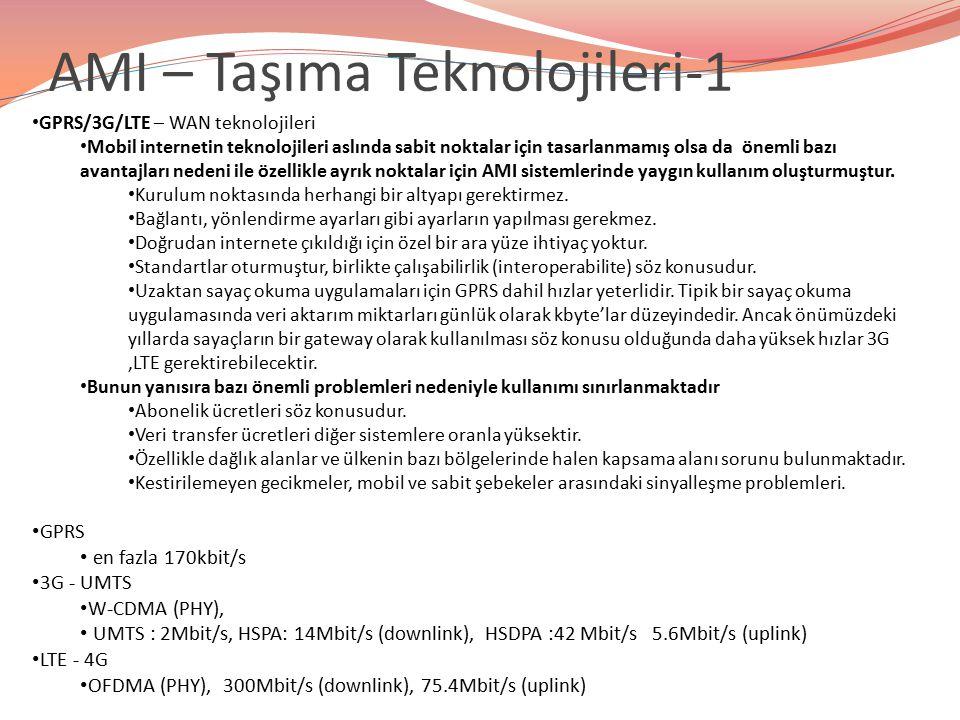 AMI – Taşıma Teknolojileri-1 GPRS/3G/LTE – WAN teknolojileri Mobil internetin teknolojileri aslında sabit noktalar için tasarlanmamış olsa da önemli b