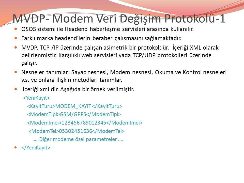 MVDP- Modem Veri Değişim Protokolü-1 OSOS sistemi ile Headend haberleşme servisleri arasında kullanılır. Farklı marka headend'lerin beraber çalışmasın