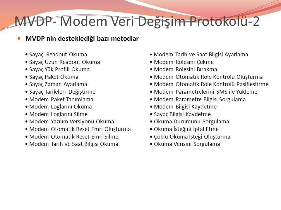 MVDP- Modem Veri Değişim Protokolü-2 MVDP nin desteklediği bazı metodlar Sayaç Readout Okuma Sayaç Uzun Readout Okuma Sayaç Yük Profili Okuma Sayaç Pa