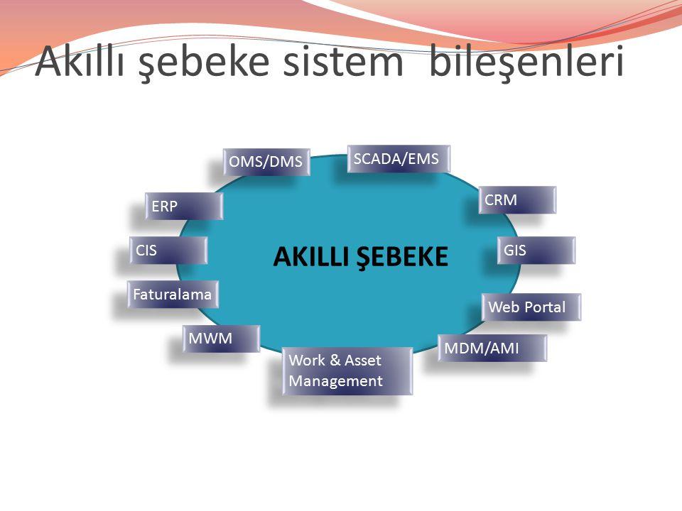 Akıllı şebeke sistem bileşenleri ERP CRM SCADA/EMS OMS/DMS CIS MWM GIS MDM/AMI Work & Asset Management AKILLI ŞEBEKE Web Portal Faturalama
