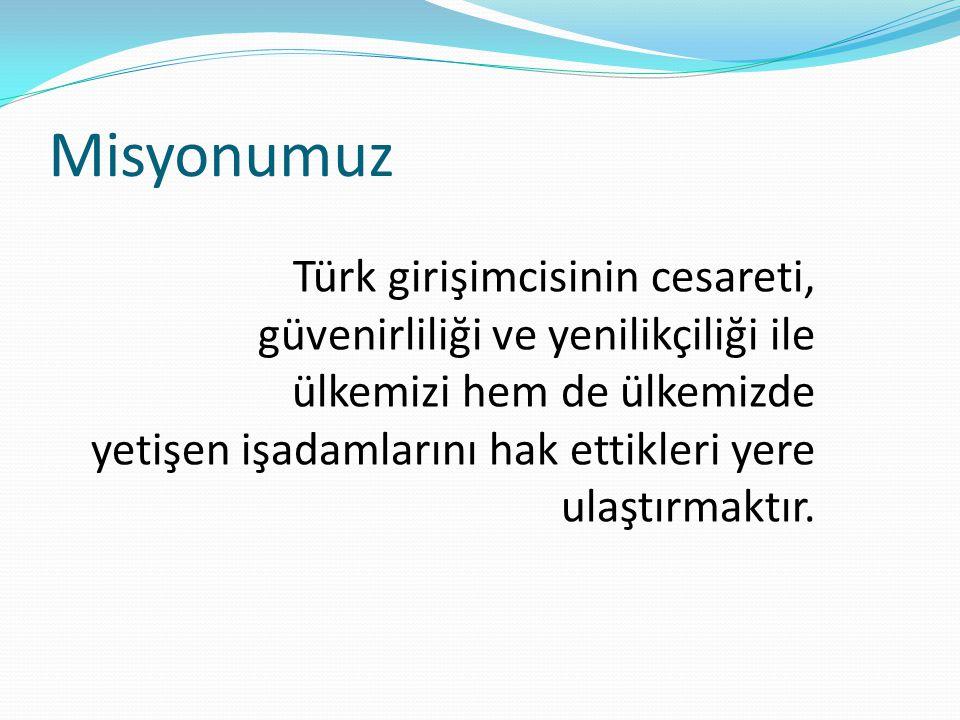 Misyonumuz Türk girişimcisinin cesareti, güvenirliliği ve yenilikçiliği ile ülkemizi hem de ülkemizde yetişen işadamlarını hak ettikleri yere ulaştırmaktır.