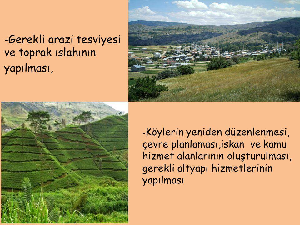 -Gerekli arazi tesviyesi ve toprak ıslahının yapılması, - Köylerin yeniden düzenlenmesi, çevre planlaması,iskan ve kamu hizmet alanlarının oluşturulma