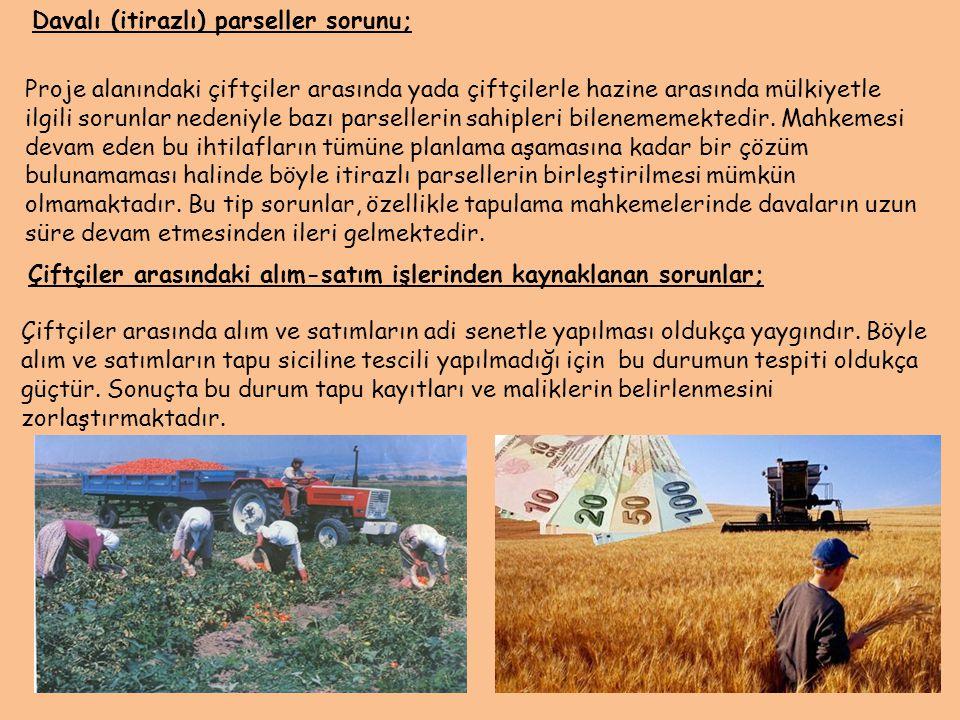 Davalı (itirazlı) parseller sorunu; Proje alanındaki çiftçiler arasında yada çiftçilerle hazine arasında mülkiyetle ilgili sorunlar nedeniyle bazı par
