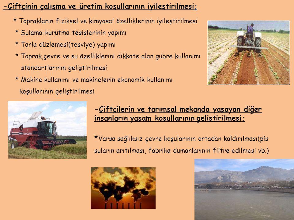 -Çiftçilerin ve tarımsal mekanda yaşayan diğer insanların yaşam koşullarının geliştirilmesi; * Varsa sağlıksız çevre koşularının ortadan kaldırılması(