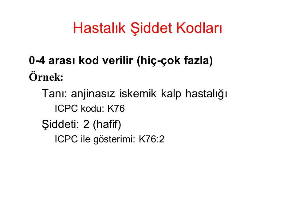 Hastalık Şiddet Kodları 0-4 arası kod verilir (hiç-çok fazla) Örnek: –Tanı: anjinasız iskemik kalp hastalığı ICPC kodu: K76 –Şiddeti: 2 (hafif) ICPC i