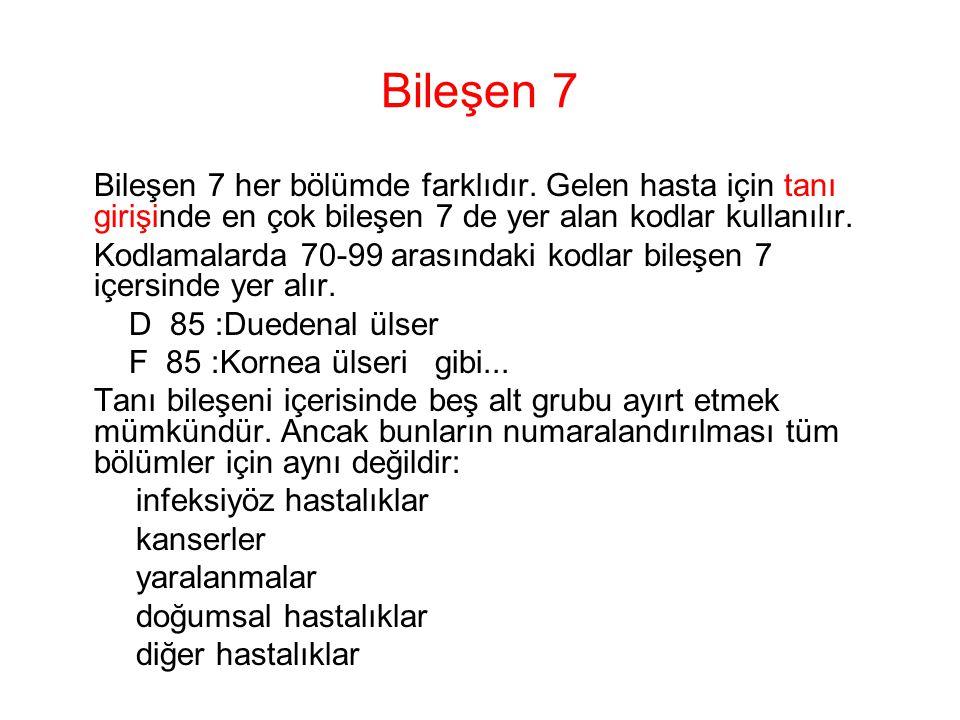 Bileşen 7 Bileşen 7 her bölümde farklıdır. Gelen hasta için tanı girişinde en çok bileşen 7 de yer alan kodlar kullanılır. Kodlamalarda 70-99 arasında