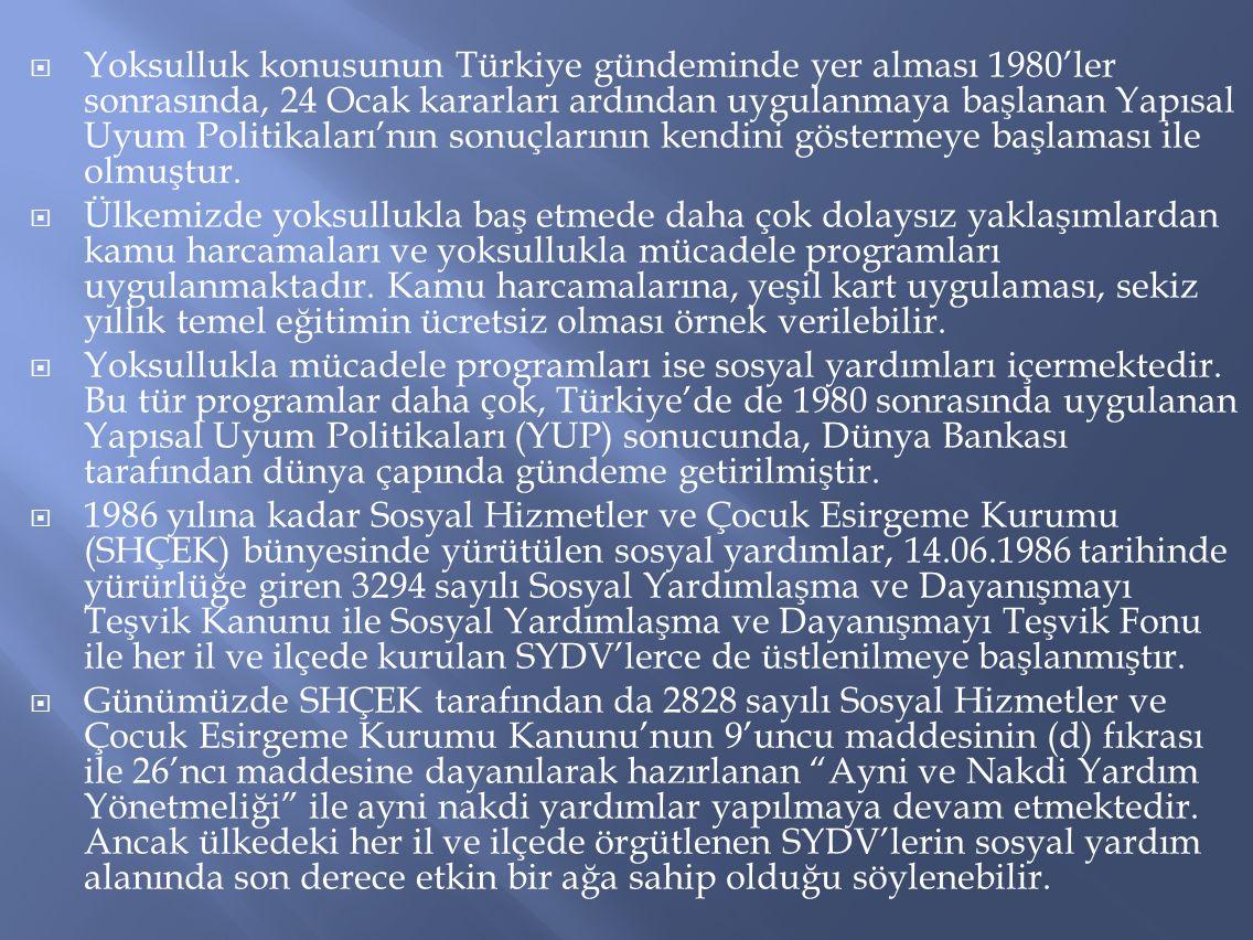  Yoksulluk konusunun Türkiye gündeminde yer alması 1980'ler sonrasında, 24 Ocak kararları ardından uygulanmaya başlanan Yapısal Uyum Politikaları'nın